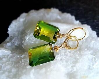 New! AAA Green Yellow Bi Color Quartz Emerald Cut Gemstone Drop Earrings on Gold Vermeil Leverbacks