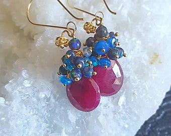 New! Ruby with Black and Blue Ethiopian Opal Gemstone Cluster Earrings on Gold Vermeil Earwires July Birthstone Goft For Her