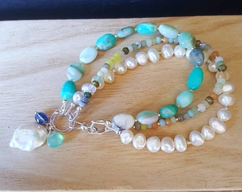 New! Multi Strand Natural Peruvian Opal, Colorful Agate and White Freshwater Pearls on Sterling Silver 3 Strand Gift For Her