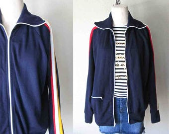 Vintage 80's track jacket JC PENNEY old school athletic zip up - M/L