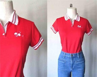 Vintage 80's GIRL POLO red and white rose embroidery - S