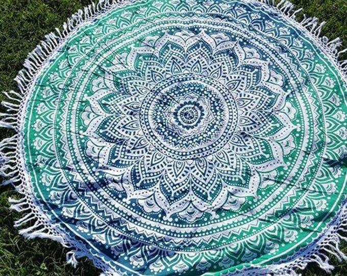 Shades of Green Mandala Roundie with White Fringe Mandala Tapestry Beach Blanket Yoga Mat Meditation Mat Dorm Decor Hippie Tapestry