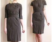 1950s Dress // Jonathan Logan Plaid 2pc Sheath Dress // vintage 50s dress