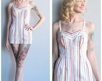 25% Off Sale // 1950s Swimsuit/Playsuit // Summer Stripe Cotton Swimsuit // vintage 50s play/swimsuit