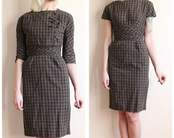 1950s Dress // Jonathan Logan Plaid 2pc Sheath Dress // vintage 50s dress