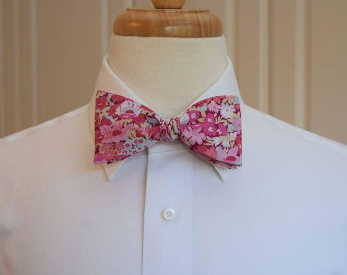 Men's Bow Tie, Valentines Day bow tie, Liberty of London pink/pale blue floral  bow tie, groom/groomsmen/wedding bow tie, Thorpe print