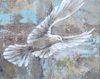 White Dove in Flight custom original oil painting on canvas hand painted one of a kind abstract realistic bird, peace symbol