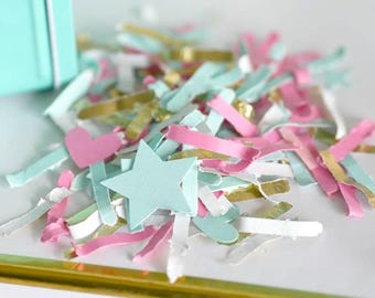Pastel Confetti, Baby Shower, Birthday, Paper Confetti, Pastel Party Decor, Gender Reveal Decor, Blue and Pink, Custom Colors Available