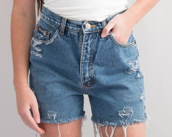 Reworked Route 66 Jeans Medium Wash Denim Cutoffs * Distressed Ripped Frayed Hem Shorts Hi Rise * Size 0 - 2 / XS / Waist 26 * FREE SHIPPING