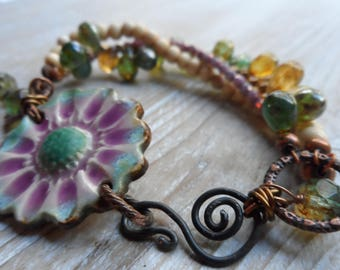 Ceramic Beaded Bracelet bohemian pottery beaded bracelet