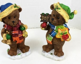 "2 pc Resin Christmas Bears table Decor Set 7"" tall Wreath tabletop centerpiece"