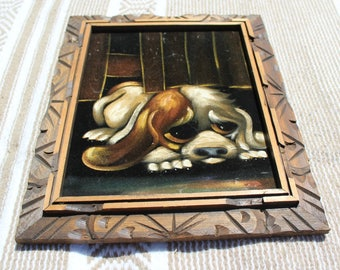 Vintage Mid Century Modern Sad Dog Black Velvet Painting Mexico with Frame