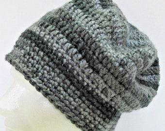 Mans Gray Striped Hat Oversize Cap Tam Newsie Beret Crochet knit Soft Warm, Large, Beanie, Handmade, Womans Big Hair Spring Easter Trending