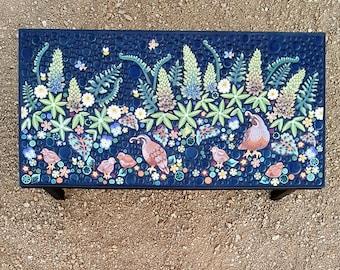 Coffee table, Quail & Lupine floral mosaic tile table. Handmade ceramic mosaic art tiles.