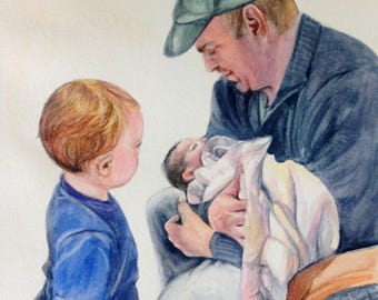 CUSTOM Watercolor Portraits - an original watercolor painting by Jodi J. Callahan