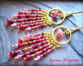 Goldtone Beaded Boho Chandelier Earrings, Red and Pink Seed Bead Earrings, Gypsy Fringe Earrings, Romantic Boho Chic Crystal Earrings
