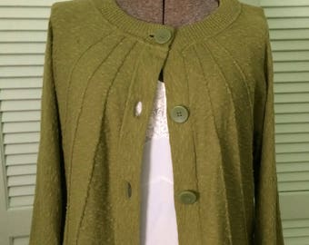 Sweater, green, fall, Jones of New York, small to medium, 3/4 sleeves, back to school
