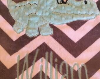 personalized blanket, baby blanket, blanket, appliqued blanket, 29 x 35, alligator