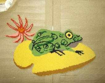 """Vintage Needlepoint Canvas-Frog on Yellow Lily Pad-Paragon-18"""" square-FREE SHIPPING!"""