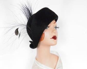 Black cloche hat, vintage Mr. John Jr., 1960s tilt