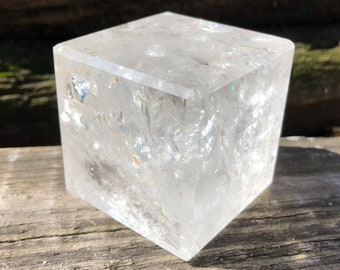 "2.2"" Clear Polished Quartz Cube with Rainbows #1"