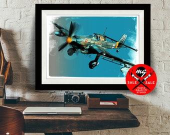 "AIRPLANE - SALE! 18""X24"" - German Stuka - Airplane Decor, WWII vintage airplane, Art Print, Military Gift, Aviation, Pilot gift"