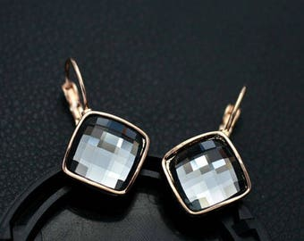 18K Rose Gold GF Fashion Square Hoop Huggie Earrings With SWAROVSKI CRYSTAL