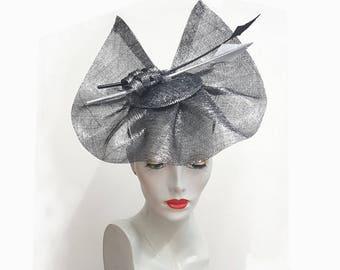 Silver black hatinator fascinator metallic sinamay and black white feathers headband fixing ideal weddings races