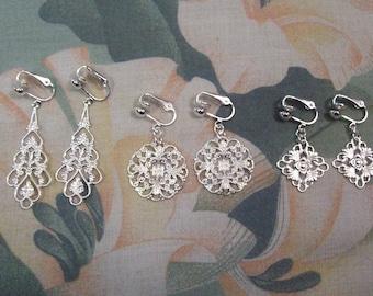 3 Pair Silver Filigree Teardrop~Wreath~Diamond Clip on or Pierced Earrings