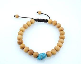 Tibetan Mala Wood Bead Wrist Mala Bracelet for Meditation