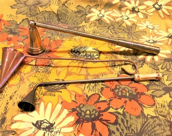 Vintage Candle Snuffer Brass Copper Lot of 3