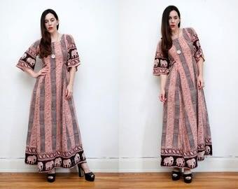 Vintage Indian Block Cotton Batik Hippie Kaftan Kimono Boho Maxi Dress 70's