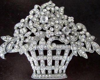 BOUCHER Reproduction Sparkling Ice Rhinestone Flower Basket Pin