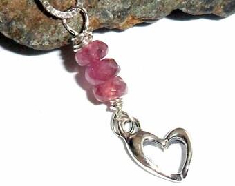 Pink Tourmaline Heart Charm Necklace earthegy #344