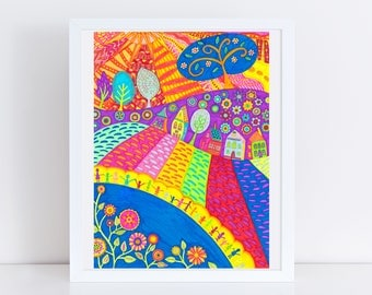 Landscape Folk Art Print -- 100 Thank Yous Project, Primitive, Colorful Wall Art, Vibrant Art, Poster, Floral, Happy People