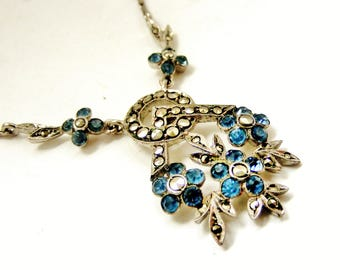 ON HOLD for ALEX Art deco marcasite and sapphire paste forget me not necklace