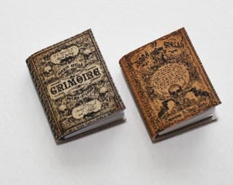 Pair of Miniature Spell Books in 1:12 Scale for  Dollhouse Witches and Sorcerers