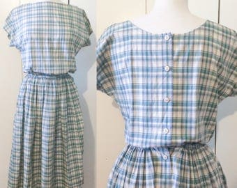 Vintage swing dress buttons up the back, Japanese vintage plaid midi dress S M