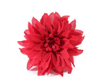 Single Large Red Dahlia Pinup Hair Flower Fascinator Clip