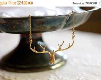 25% OFF SALE Antler / branch / twig woodland bib necklace, gold tone, twig jewelry, whimsical small statement necklace, Doe Eyed