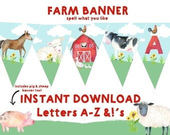 FARM BANNER Farm instant download banner Barnyard Banner Printable Cow Horse Pig Sheep Lamb Duck Banner Printable