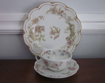 Shabby Tea Set, Haviland Limoges Cup and Saucer and Plate, Set of 3, Shabby Chic, Cottage Chic,  Antique, Vintage