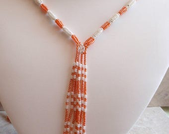 Seed Bead Necklace Colorful Orange White Flapper Sautoir African Southwestern Vintage 080213PS