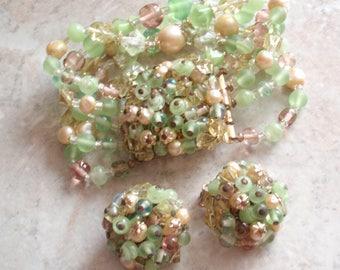 Japan Beaded Set Bracelet Earrings Green Glass Faux Pearl Clip On Vintage 120513UP