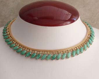 Hobe Necklace Earring Set Gold Tone Mesh Peking Glass Faux Jade Vintage 021017RC