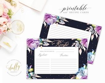 Printable Recipe Cards, Recipe Cards for Bridal Shower, Recipe Card 4x6,  Bridal Shower Recipe Cards, Kitchen Shower Recipe Card, Printable