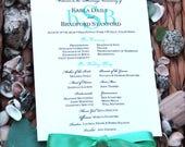 100 Green Blue Wedding Fan Programs - Green Wedding Fans, Beach Program Fan, Personalized Hand Fan, Beach Wedding Fans, Unique Programs
