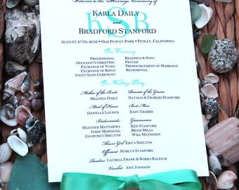 Green Blue Wedding Fan Programs - Green Wedding Fans, Beach Program Fan, Personalized Hand Fan, Beach Wedding Fans, Unique Programs