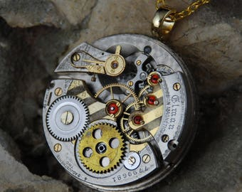 Steampunk Jewelled two-toned Pocket Watch Movement Necklace A 53