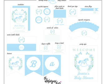 Rocking Horse  Baby Shower Collection - Rocking Horse Party Package - Rocking Horse Printable Party Collection // RHB-01